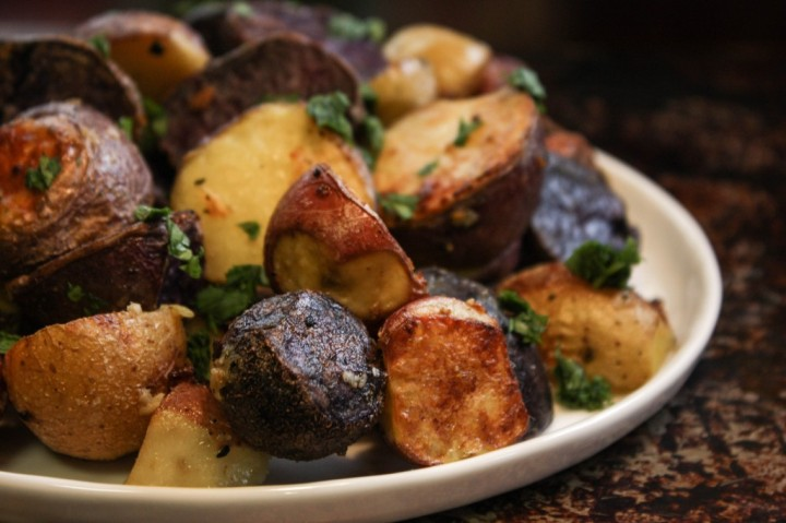 Roasted Rainbow Potatoes with Mushrooms